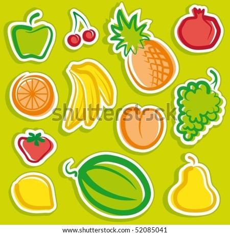 Stickers with sketches of fruit