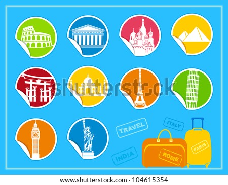 Stickers with symbols of the different countries