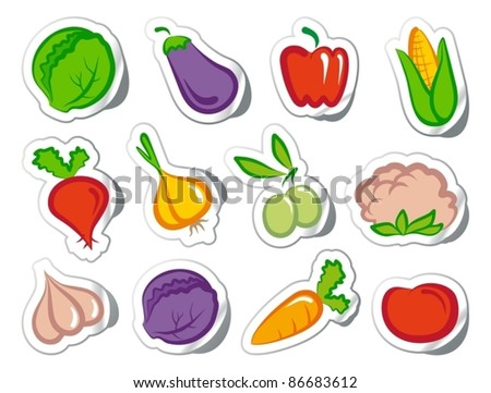 Stickers with vegetables
