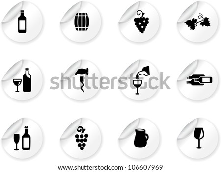 Stickers with wine icons