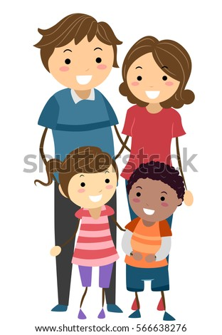 Stickman Family Illustration Featuring a Family with Adopted Child