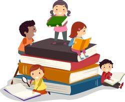Stickman Illustration Featuring Kids Reading Books