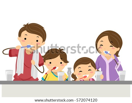 Stickman Illustration of a Family Brushing Their Teeth Together Before Bedtime