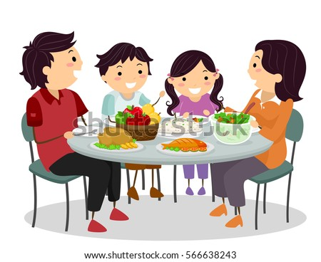 Stickman Illustration of a Family Happily Chatting While Sharing a Meal