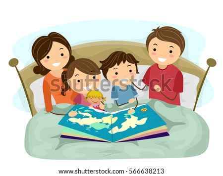 Stickman Illustration of a Family Reading a Geography Book