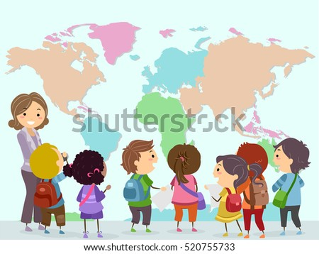 Stickman Illustration of a Group of Preschool Kids Observing a Giant World Map