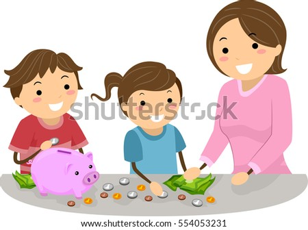 Stickman Illustration of a Mother Teaching Her Daughter and Son How to Save Money