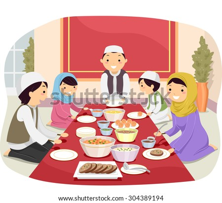 Stickman Illustration Of A Muslim Family Eating Together