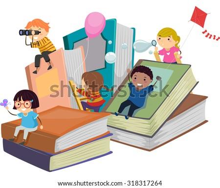Stickman Illustration of Kids Playing Near Giant Books Stock photo ©