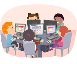 Stickman Illustration of Kids Using Computers