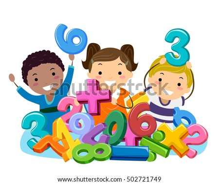 Stickman Illustration of Preschool Kids Playing in a Pit Filled with Numbers and Mathematical Symbols