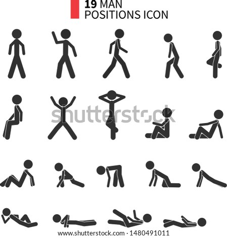 StickMan positions icon pack. Icon pack. Icon set