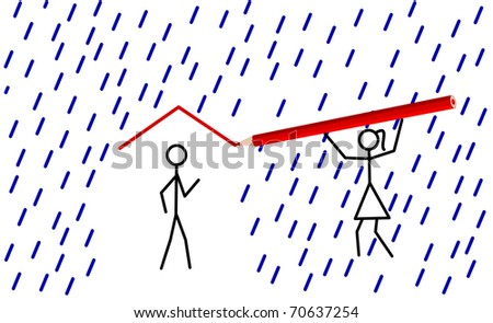 Stickman provides shelter from rain for his/her love (raster version also available) - stock vector