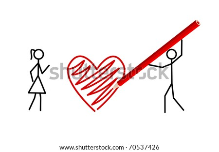 Stickman's valentine - Two stickmans in love draw a heart with a crayon (raster version also available)