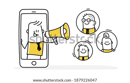 Stickman speaks into a megaphone. Refer a friend loyalty program, referral marketing, online promotion method. Vector illustration. Stock photo ©
