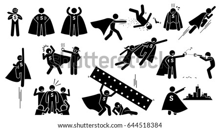 Stickman Super Human Superhero. Cliparts depict a hero character in actions. The superhero is beating bad people, flying up, rescuing a girl, and protecting the city from villain.