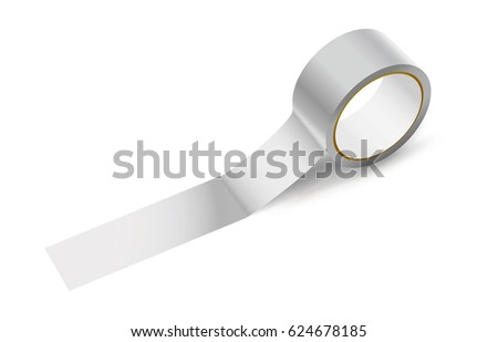 Sticky narrow packing tape. Office tool and stuff. Vector illustration of white adhesive tape roll for work and repair. Scotch