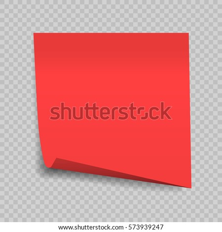 sticky note isolated on transparent background. Office paper sheet. Template for your projects. Vector illustration.