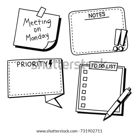 sticky note, reminder, to do list in doodle style doodle isolated on white background