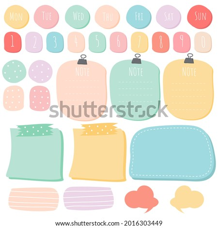 Sticky note set. Cute paper notes. Stationary set. Scrapbook notes and cards.Printable planner stickers. To Do List note. Template for your message. Decorative planning element. Vector illustration.