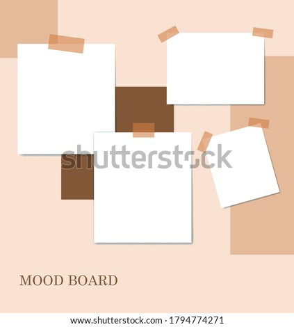 Sticky notes brown color mood board template. Decorative vector collage composition for office memos pad, pins, sticky notes board and duct tape notes, presentation and photo frame
