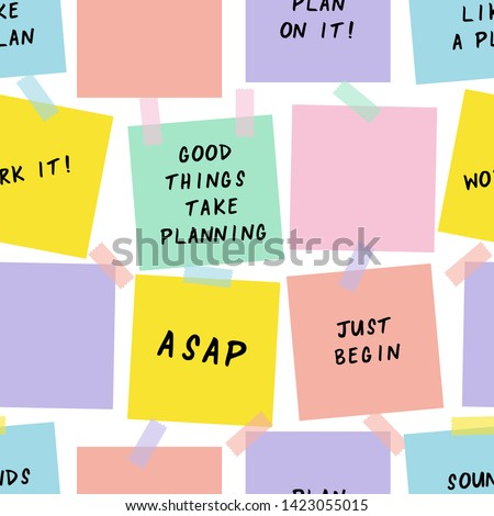 Sticky notes cartoon vector seamless pattern. Reminders, notifications hand drawn texture. Paper sheets decorative backdrop. Motivational messages, phrases. Wallpaper, wrapping paper flat design