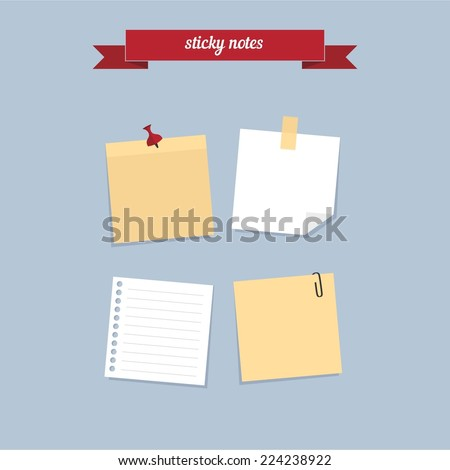 sticky notes flat style design