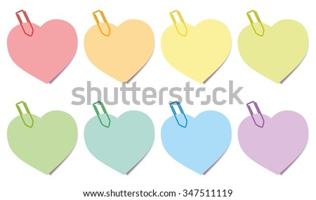 Sticky Notes Hearts Sticky notes - heart shaped colored notepads with paperclips. Isolated vector illustration over white background.