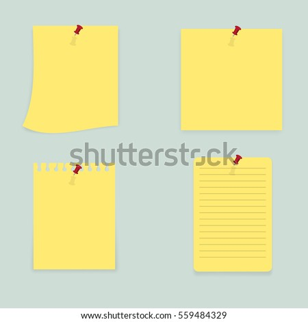 Sticky Notes - Set of yellow sticky notes isolated on white background. Vector illustration, Eps10.