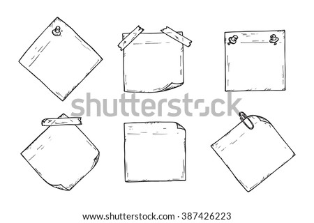 Sticky notes Vector set. Hand drawn doodle paper sheets for messages. Collection of memos blank