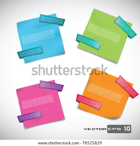 Sticky Notes with Origami Tabs. EPS 10 Vector