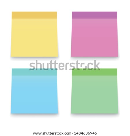 Sticky office notes. Paper colored square reminders isolated on white background.