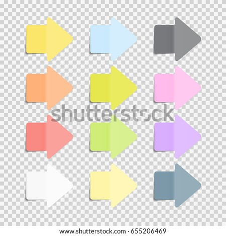 Sticky Office Paper Sheets Notes, Arrow Sign Pack Collection Set with Shadow Isolated on Transparent Background Vector Illustration. EPS10
