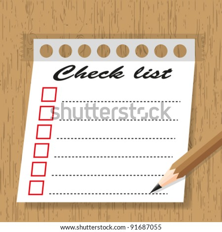Sticky pad check list form on wooden backgrounds.