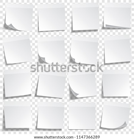 Sticky paper note with tape and shadow isolated on transparent background. Blank. Set