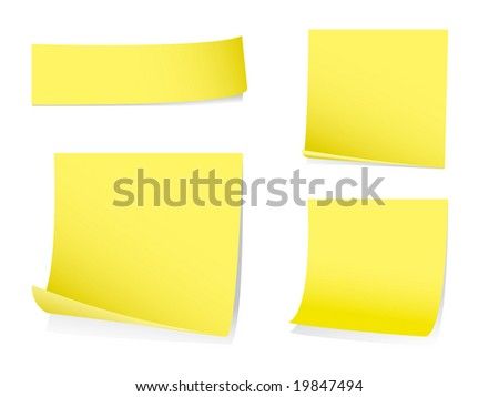 Sticky post it notes with shadows