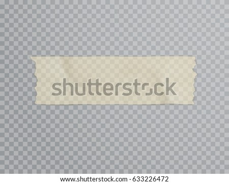 Sticky tape with shadow isolated on transparent background. Vector grunge paper adhesive tape for your advertising design.
