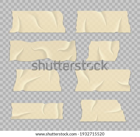 Sticky tape with shadow. Strip of brown ripped sticky tape. Transparent adhesive tape. Crumpled glue plastic sticky tape for photo and paper fixture.
