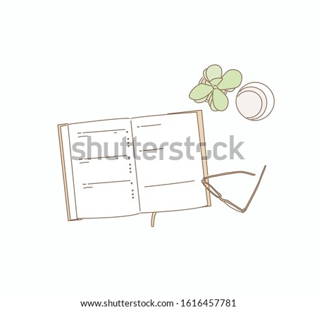 Still life, business, planning or education concept : Office desk table with open notebook paper, accessories and coffee cup, Top view . Hand drawn style vector design illustrations.