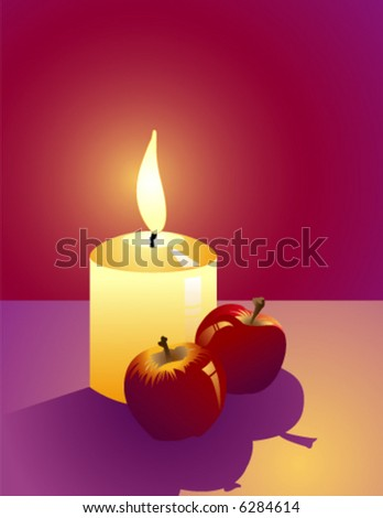Still-life: Candle, flaming on the christmas eve and red apples