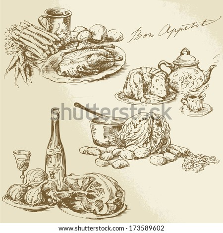 still life hand drawn food