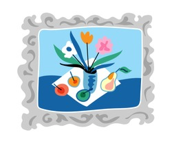 Still life in vintage frame flat illustration. Hand drawn vector wall painting isolated on white background. Cartoon canvas with flower vase and fruits. Art gallery picture design element