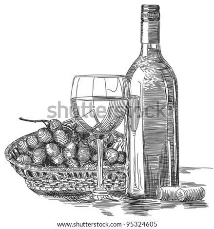 Still life: wineglass, bottle and wicker basket with grape. Black and white graphics vector illustration
