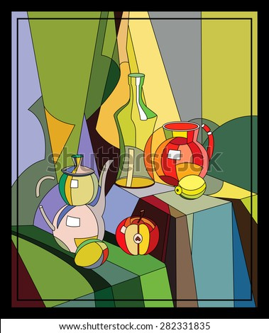 Still life with a bottle and jug, apple and lemon in the style of a stained glass window