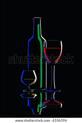 still life with wine glasses and bottle