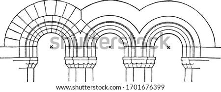 Stilted Arches, Modern Romanesque, vintage engraving.  Foto d'archivio ©