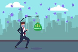 Stimulus vector concept: Businessman wearing face mask and running to chase money bag with stimulus text during coronavirus outbreak