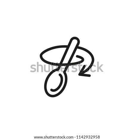 Stirring with spoon line icon. Tablespoon, household, arrow. Cooking concept. Vector illustration can be used for topics like kitchenware, recipe, preparing food