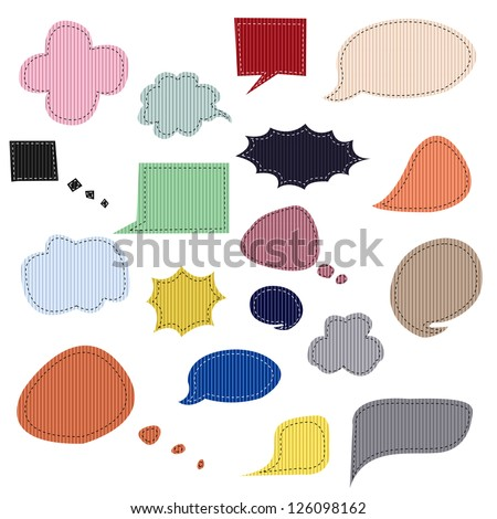 Stitched Grosgrain Ribbon Speech Balloons, Vector Illustration