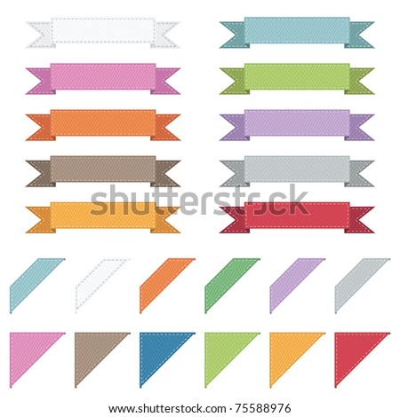 stitched ribbons and corners isolated on white